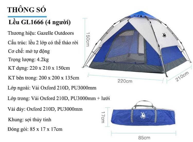 lều cắm trại tự bung 4 người